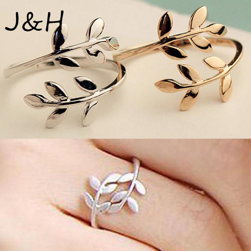 Fashion Olive Tree Branch Leaves Open Ring