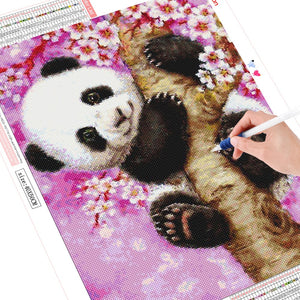 HUACAN Panda Full Round Rhinestones Cross Stitch 5D DIY Diamond Painting