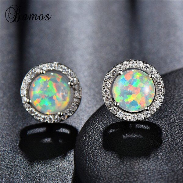 Bamos Blue Fire Opal Stud Earrings