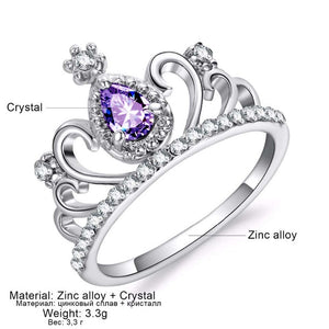 Beiver Luxury Crown Purple Zirconia Ring