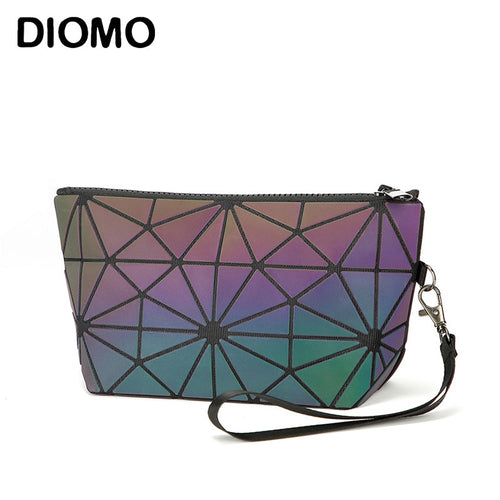 DIOMO  Fashion Luminous Geometric Make Up Bag Wristlets