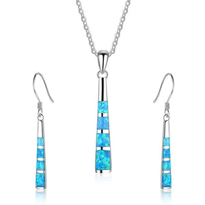 Charm Geometric Blue Imitation Fire Opal Pendant Necklace set