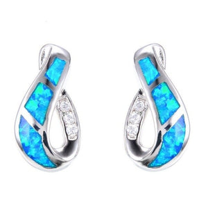 Exquisite Geometric Blue Fire Opal Stud Earrings