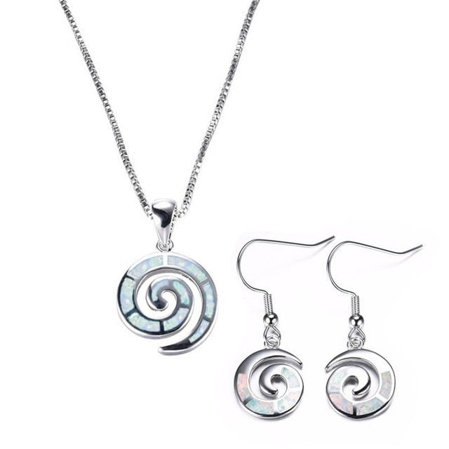 Fashion Blue Imitation Fire Opal Spiral Silver Pendant Necklace set