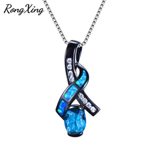 RongXing Charming Bowknot Pendants Blue/White Fire Opal Necklace