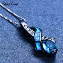 Load image into Gallery viewer, RongXing Charming Bowknot Pendants Blue/White Fire Opal Necklace