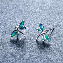 Load image into Gallery viewer, Cute Dragonfly Blue Fire Opal Earrings
