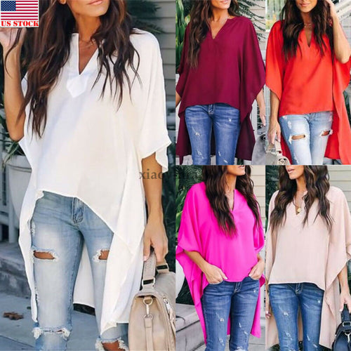 Seven Sleeve V-Neck Solid Irregular Shirts