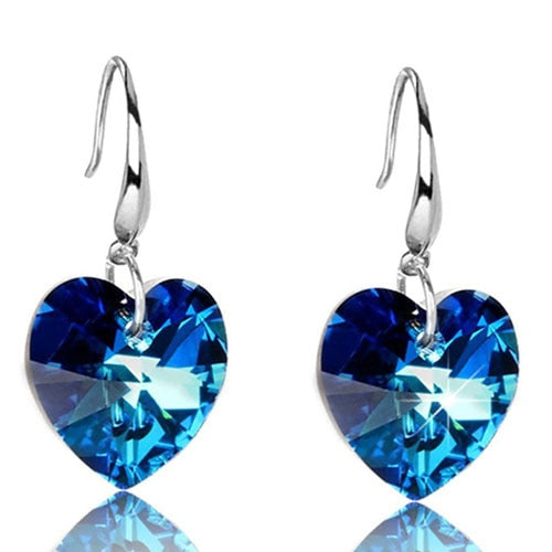Austria Crystal Silver Plated Blue Heart of Ocean Shaped Earrings