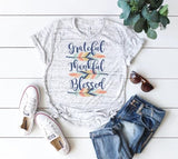 Womens Grateful Thankful Blessed T-shirts