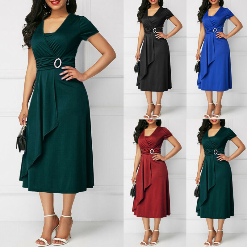 Hirigin New Summer Asymmetric Hem V Neck Midi Dress