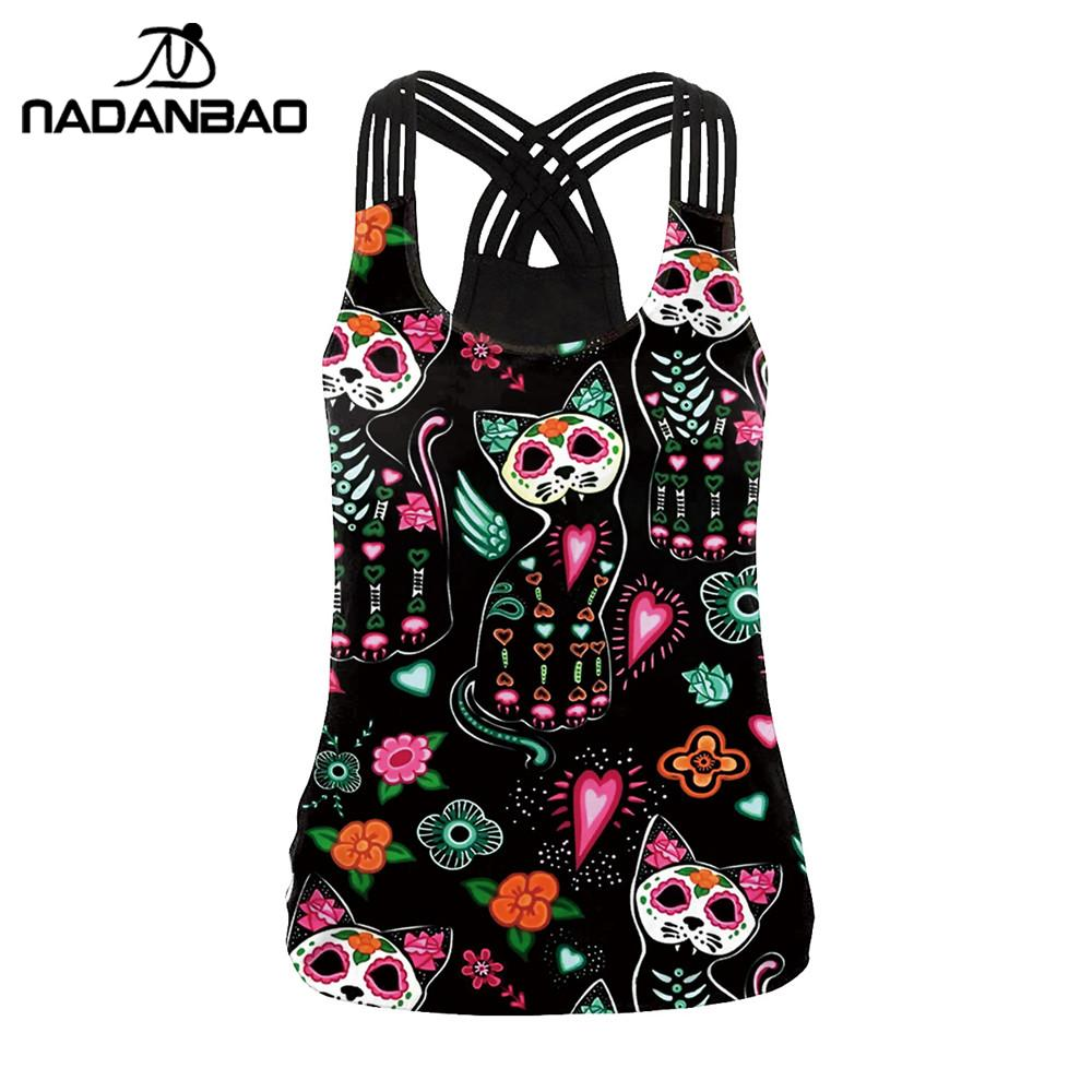 NADANBAO Sugar Skull Cat Tops