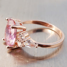 Load image into Gallery viewer, 8Seasons Princess Cut Bling Pink Rhinestone Ring Size 6-10