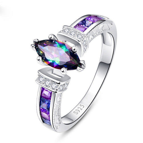Huitan Special Marquise Shape Shiny Purple CZ Prong Rings Size 6-10