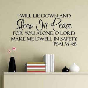 DIY Vinyl Quote Sleep In Peace Bible Verse Wall stickers