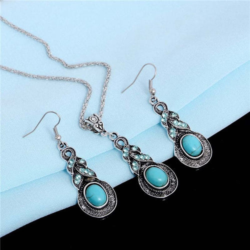 SHUANGR Vintage Tibetan Silver color CZ Crystal Long Drop Pendant Necklace Set