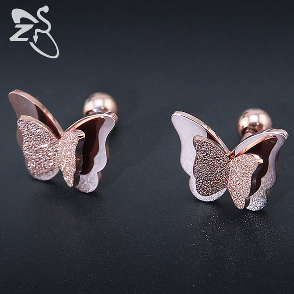 New Butterfly Rose Gold Color Stainless Steel Stud Earrings