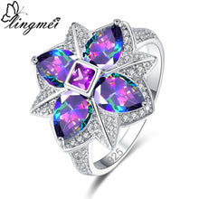 Load image into Gallery viewer, lingmei New Flower Style Multi- Purple & Blue Red White CZ Silver Color Ring Size 6-9