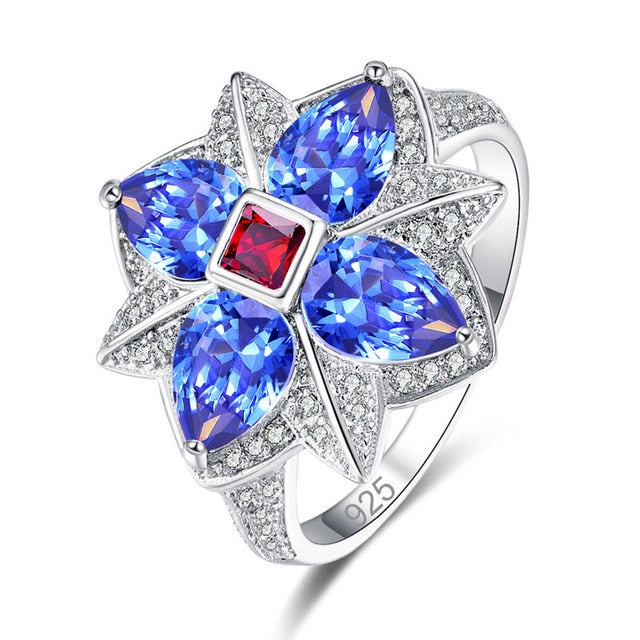 lingmei New Flower Style Multi- Purple & Blue Red White CZ Silver Color Ring Size 6-9