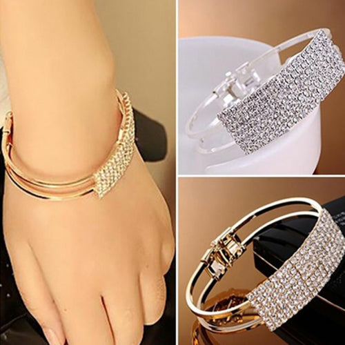 Classic Full Rhinestone Open Bangle Bracelet