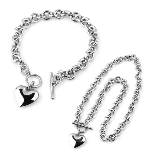 Stainless Steel Hollow Heart Necklace set