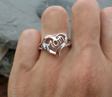 New Love Heart MoM 925 Sterling Silver Rings