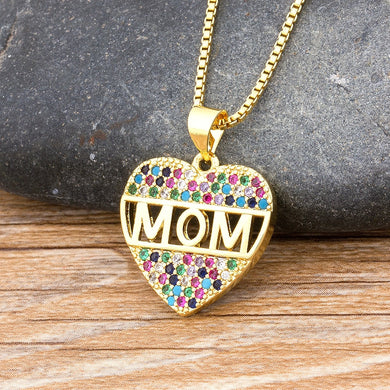 Fashion Colorful Mom Cubic Zirconia Heart Necklace