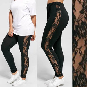 Plus Size Lace Black Insert Sheer Leggings
