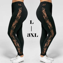 Load image into Gallery viewer, Plus Size Lace Black Insert Sheer Leggings
