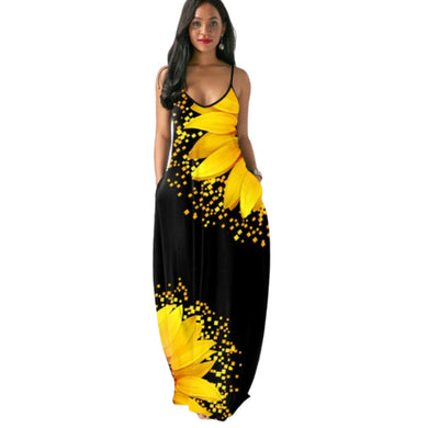Sunflower Print Long Maxi Dress