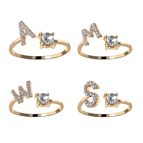 A-Z Letter Gold Color Metal Adjustable Opening Ring