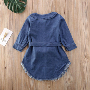New Toddler Blue Pearl Bowknot Denim dress