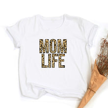 Load image into Gallery viewer, Mom Life Leopard Print Women T-shirts
