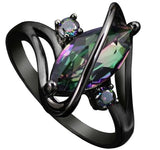 New Design Black Gun Plated Rainbow Stone Ring