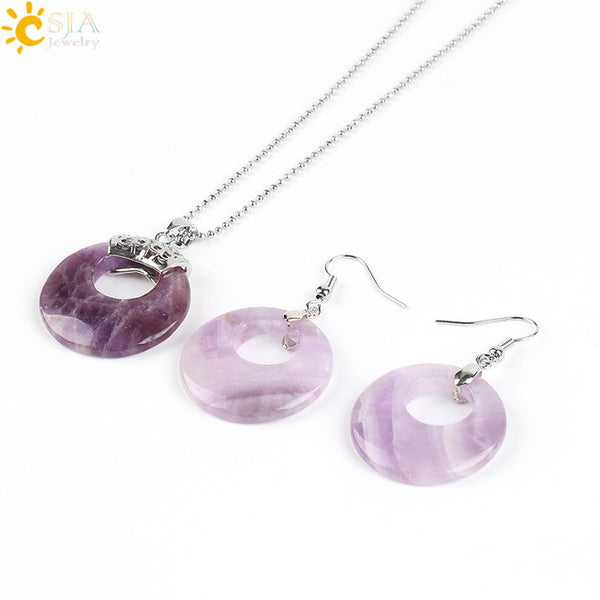 CSJA  Natural Hollow Round Gem Stone Onyx Unakite Purple Crystal Opal Earrings Necklaces Healing set