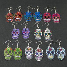 Load image into Gallery viewer, Calavera Sugary-sweet whimsical skull Earrings