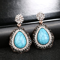 Unique Vintage Color Ancient Gold Mosaic Crystal Water Drop Drop Earrings