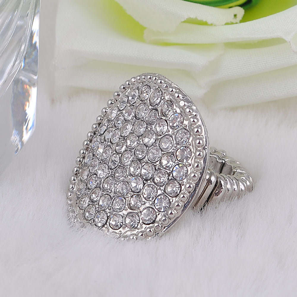 Fashion Stretch Rhinestone White K Plated Trendy Ring