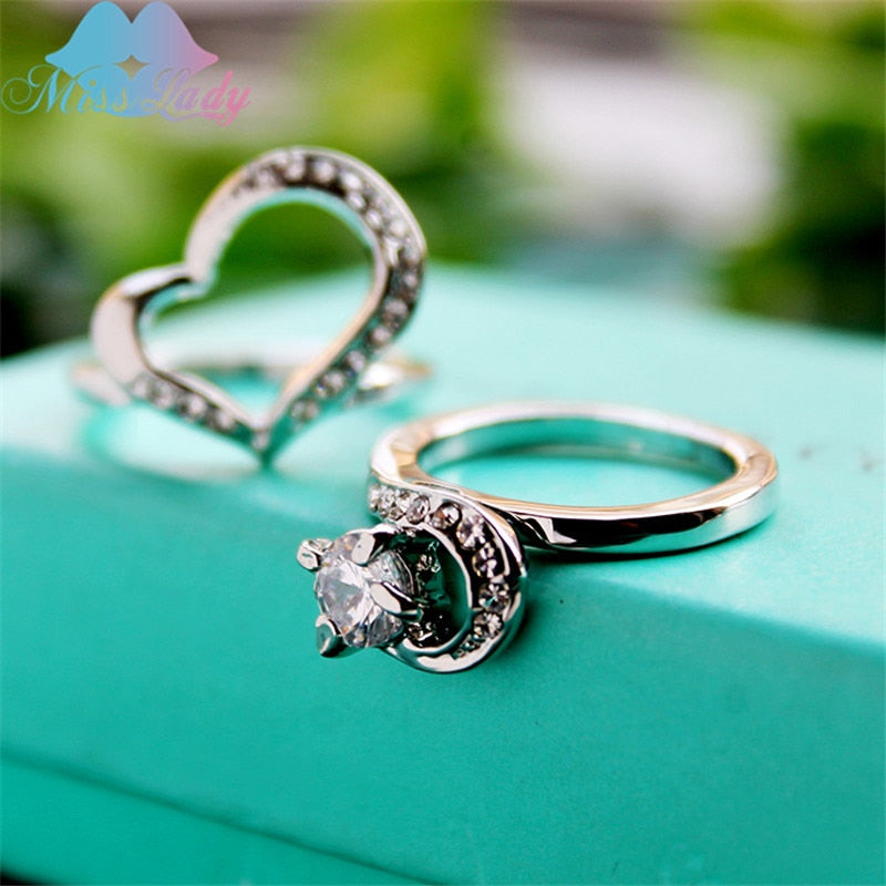 Miss Lady Silver color The Crystal Double Heart Rings Sizes 6-9
