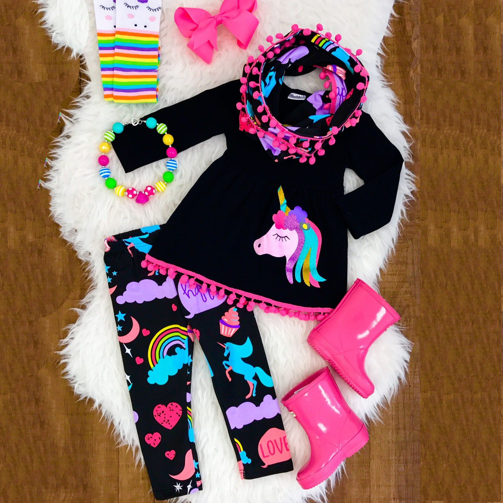 Unicorn Girls Clothes Set 2-7Y