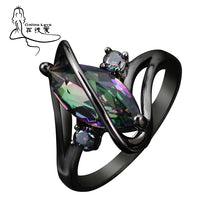 Load image into Gallery viewer, New Design Black Gun Plated Rainbow Stone Ring