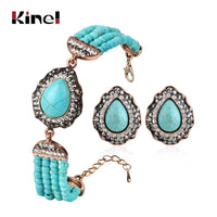 Kinel Bohemian Beaded Handmade Stone Beads Bracelets And Earrings set