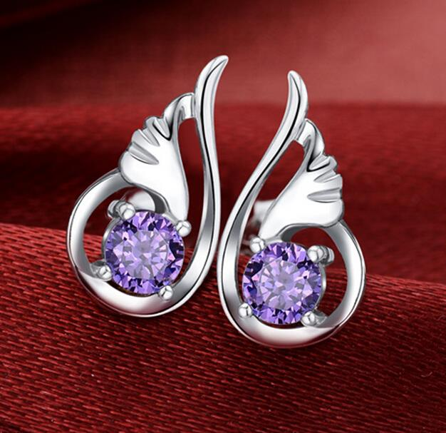 OMHXZJ Fashion White AAA zircon drill or purple amethyst Angel wings 925 Sterling Silver Stud Earrings