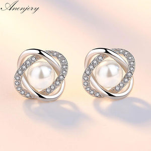Anenjery 925 Sterling Silver Zircon Pearl Twist Luxury Stud Earrings