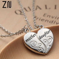 ZN Popular Mother and Daughter Heart necklace