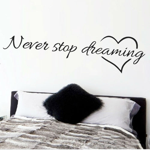 Never stop dreaming inspirational quotes wall art