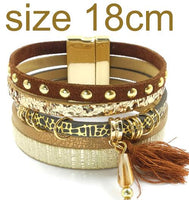 WELLMORE bohemian leather bracelets in 6 color