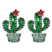 Load image into Gallery viewer, High quality plant cactus zircon earrings