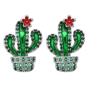 High quality plant cactus zircon earrings