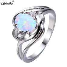Load image into Gallery viewer, Blaike Mystic Fire White/Blue/Rainbow Opal Oval Zircon Rings 925 Sterling Silver Filled